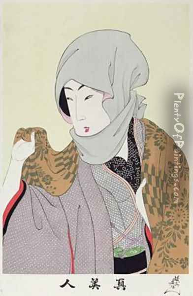 1973-22c Shin Bijin (True Beauties) depicting a woman with a headscarf, from a series of 36, modelled on an earlier series Oil Painting - Toyohara Chikanobu