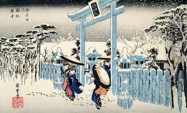 Snow at night young women leave a temple in heavy falling snow from the series 53 Stations of the Tokaido Oil Painting - Utagawa or Ando Hiroshige