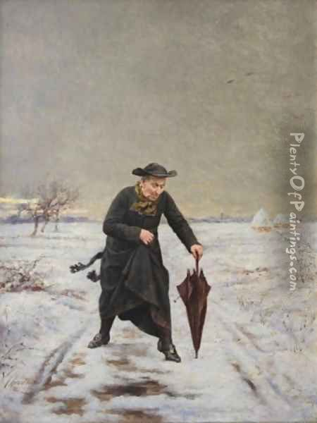 Parish Priest out in the Snow Oil Painting - V. Chevilliard