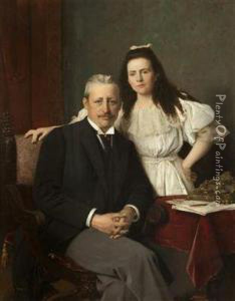 A Portrait Of Count Seilern With His Daughter Oil Painting - Vaclav Brozik