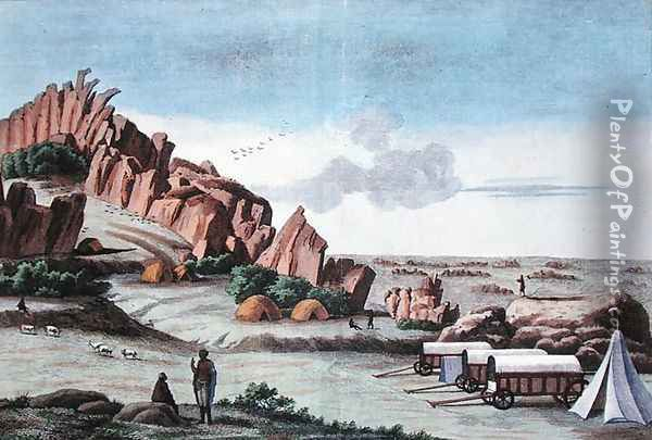 Klaas Baster Camp, from Voyages de M. le Vaillant dans l'Interieur de l'Afrique par le Cap de Bonne Esperance 1780-85, engraved by Hulk, published 1790 Oil Painting - Vaillant, Francois Le