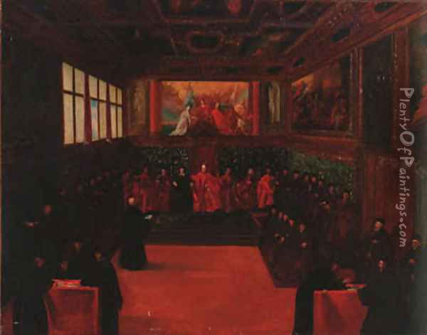 The Council chamber of the Doge's palace Oil Painting - Venetian School