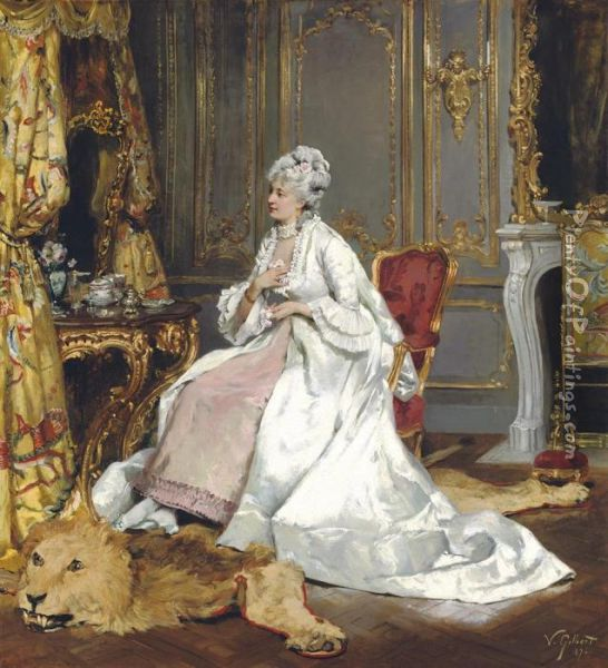 A Lady In Her Boudoir Oil Painting - Victor-Gabriel Gilbert