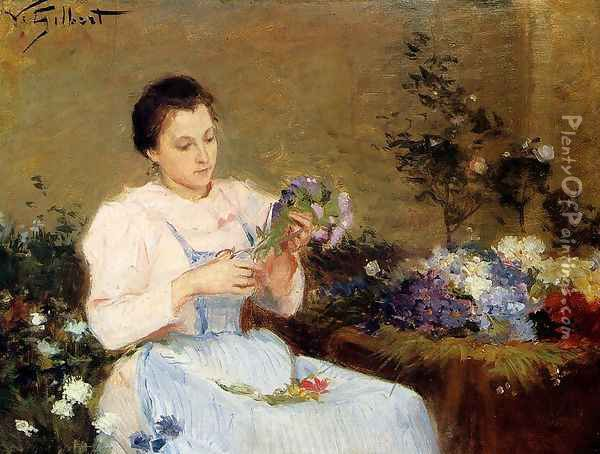 Arranging Flowers For A Spring Bouquet Oil Painting - Victor-Gabriel Gilbert