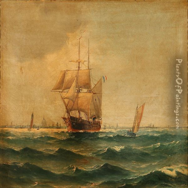 Coastal Scene Wiht Sailing Ships On Copenhagenroadstead Oil Painting - Vilhelm Bille