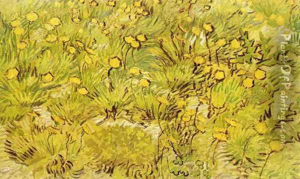 A Field of Yellow Flowers Oil Painting - Vincent Van Gogh
