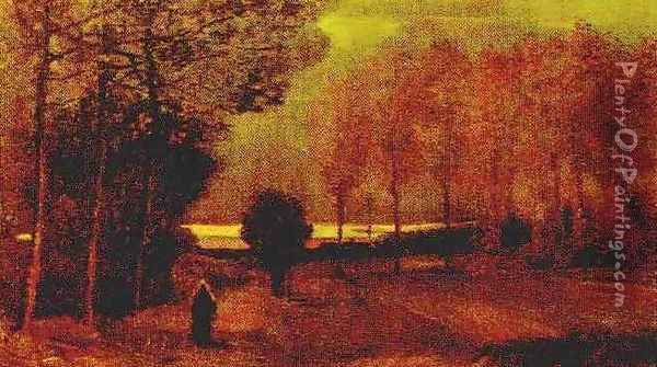 Autumn Landscape At Dusk Oil Painting - Vincent Van Gogh