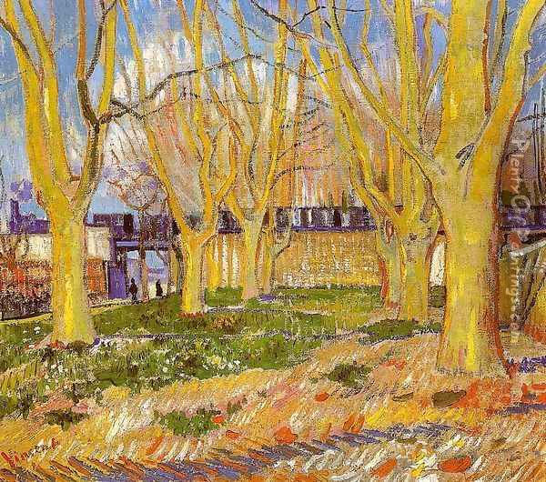 Avenue Of Plane Trees Near Arles Station Oil Painting - Vincent Van Gogh