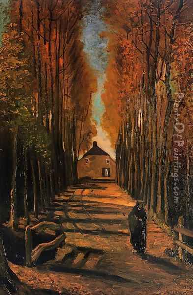 Avenue Of Poplars In Autumn Oil Painting - Vincent Van Gogh