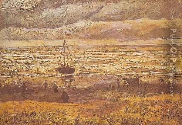 Beach at Scheveningen Oil Painting - Vincent Van Gogh