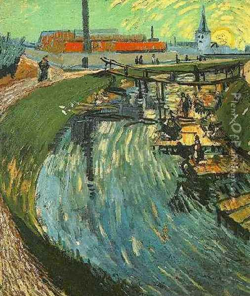 Canal With Women Washing Oil Painting - Vincent Van Gogh
