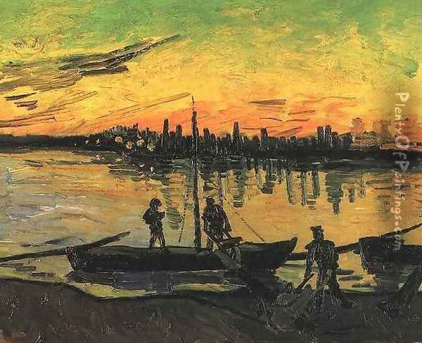 Coal Barges II Oil Painting - Vincent Van Gogh