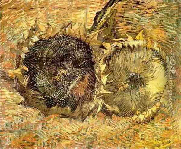 Deux tournesols coupés 1887 Oil Painting - Vincent Van Gogh