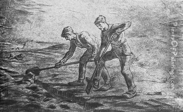 Ditchdiggers (after Millet) Oil Painting - Vincent Van Gogh