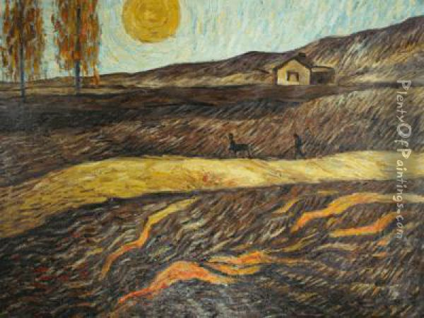 Enclosed Field With Ploughman Oil Painting - Vincent Van Gogh