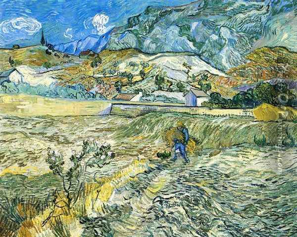 Enclosed Field with Peasant Oil Painting - Vincent Van Gogh