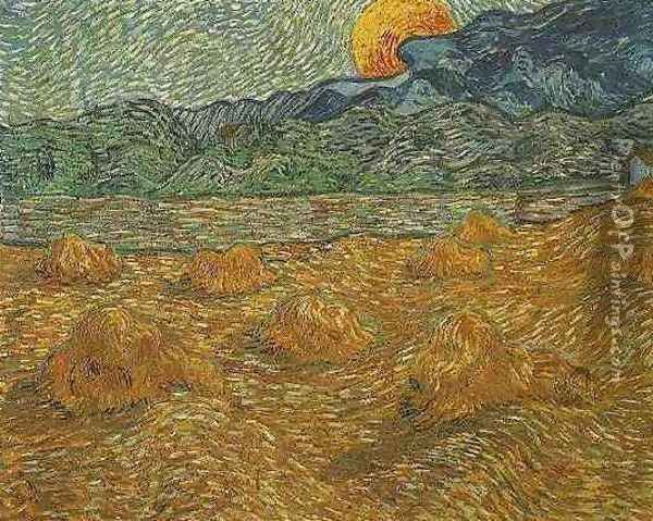 Evening Landscape With Rising Moon Oil Painting - Vincent Van Gogh