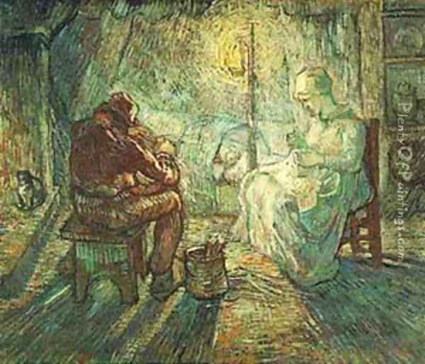 Evening The Watch (After Millet) 1889 Oil Painting - Vincent Van Gogh