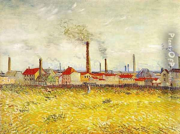 Factories At Asnieres Seen From The Quai De Clichy Oil Painting - Vincent Van Gogh