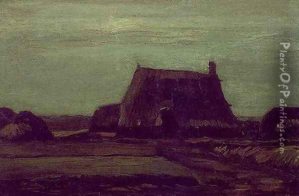 Farm With Stacks Of Peat Oil Painting - Vincent Van Gogh