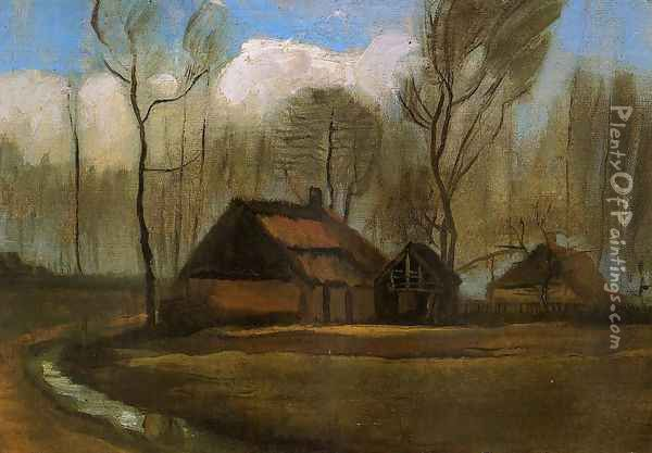 Farmhouses Among Trees Oil Painting - Vincent Van Gogh
