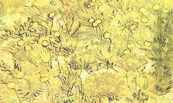 Field Of Yellow Flowers A Oil Painting - Vincent Van Gogh