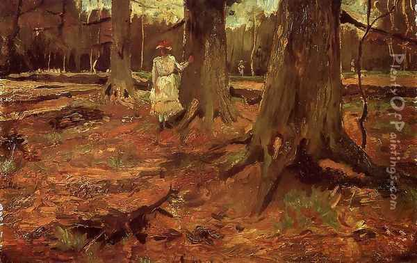 Girl In White In The Woods Oil Painting - Vincent Van Gogh