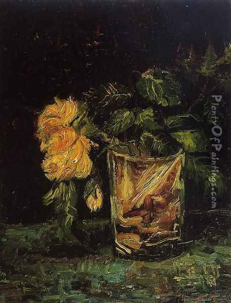 Glass With Roses Oil Painting - Vincent Van Gogh