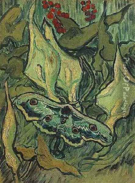 Great Peacock Moth Oil Painting - Vincent Van Gogh