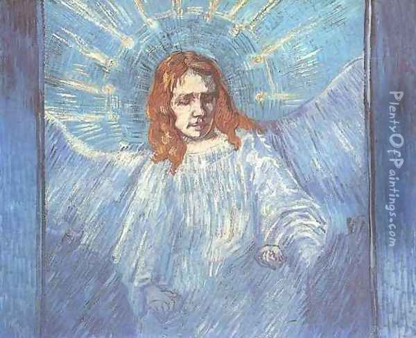 Half Figure Of An Angel (after Rembrandt) Oil Painting - Vincent Van Gogh
