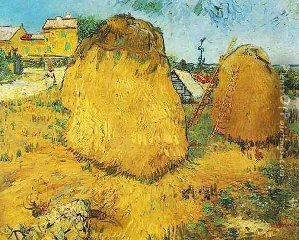 Haystacks In Provence Oil Painting - Vincent Van Gogh