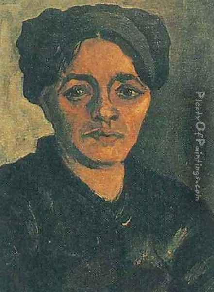 Head Of A Peasant Woman With Dark Cap VIII Oil Painting - Vincent Van Gogh