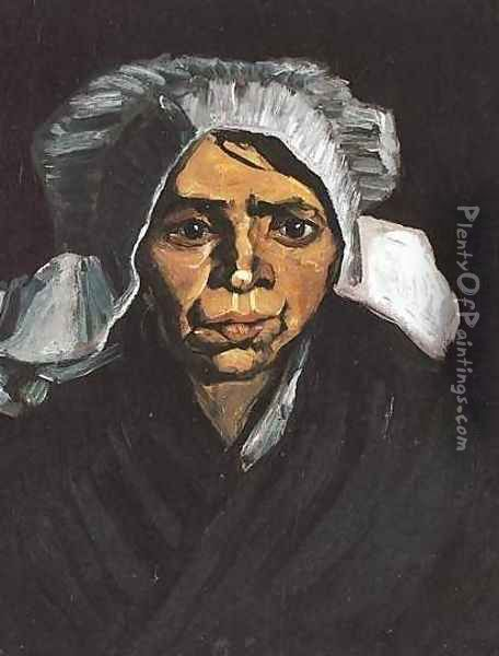 Head Of A Peasant Woman With White Cap I Oil Painting - Vincent Van Gogh