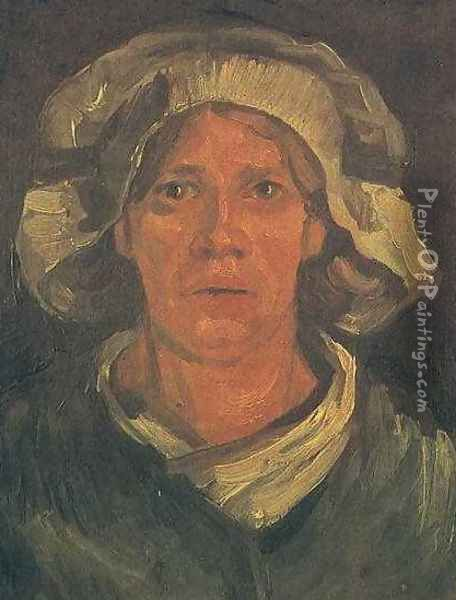 Head Of A Peasant Woman With White Cap V Oil Painting - Vincent Van Gogh