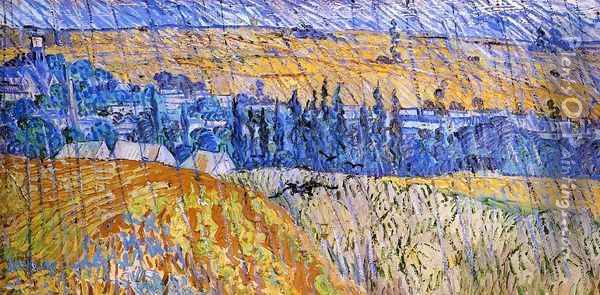 Landscape At Auvers In The Rain Oil Painting - Vincent Van Gogh