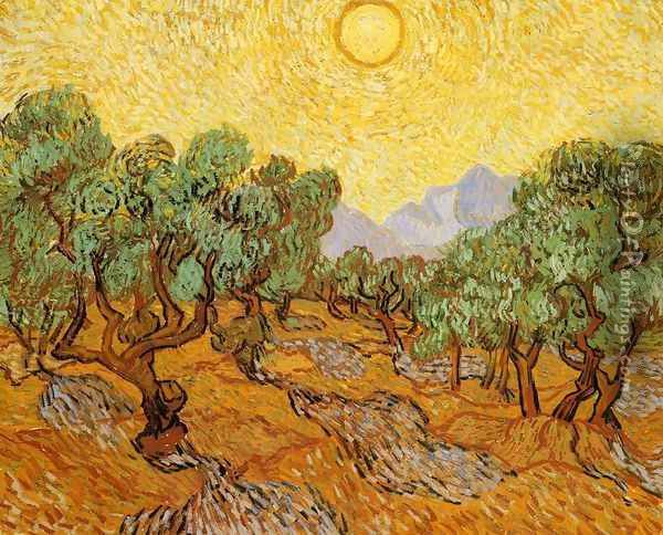 Olive Trees With Yellow Sky And Sun Oil Painting - Vincent Van Gogh