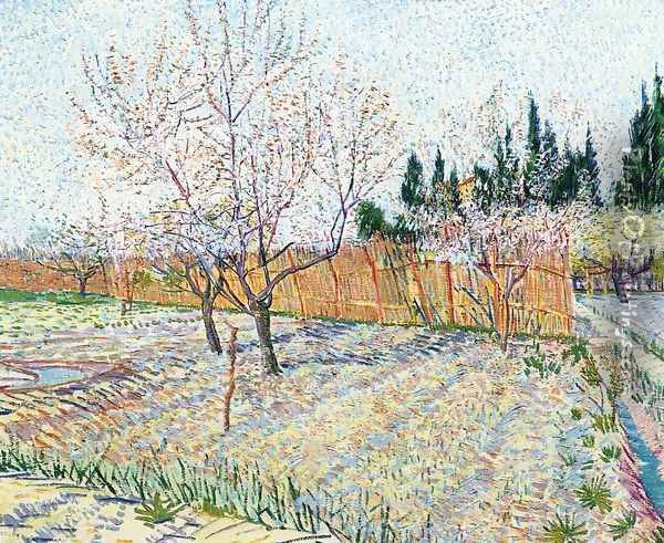 Orchard With Peach Trees In Blossom II Oil Painting - Vincent Van Gogh