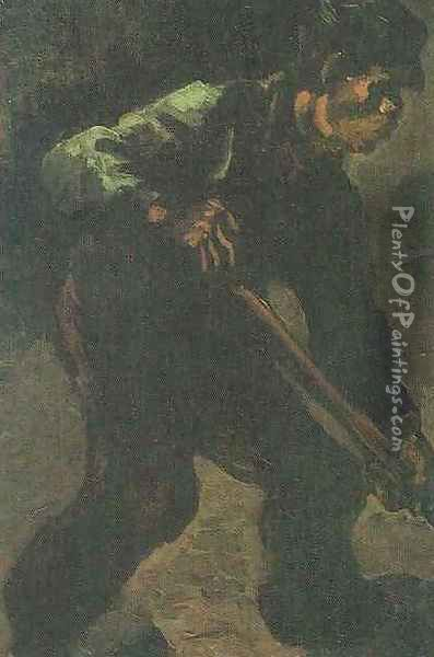 Peasant Digging Oil Painting - Vincent Van Gogh