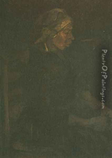 Peasant Woman Seated With White Cap Oil Painting - Vincent Van Gogh
