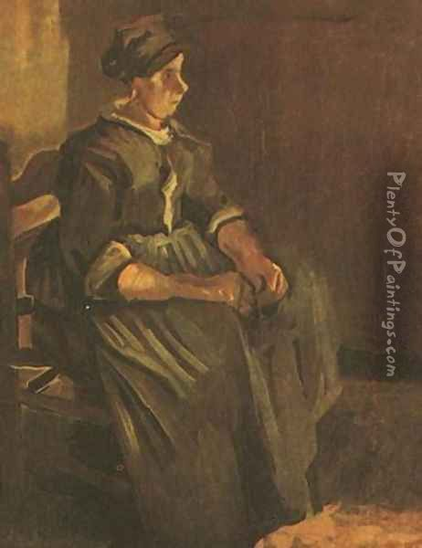 Peasant Woman Sitting On A Chair Oil Painting - Vincent Van Gogh