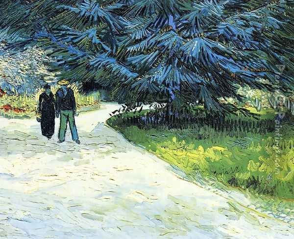 Public Garden With Couple And Blue Fir Tree: The Poets Garden III Oil Painting - Vincent Van Gogh