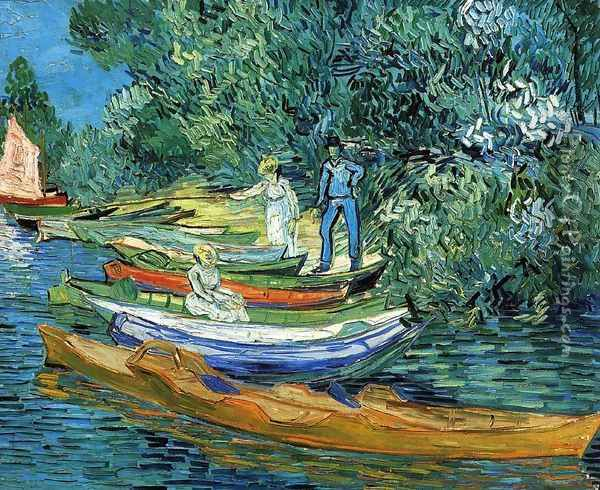 Rowing Boats on the Banks of the Oise Oil Painting - Vincent Van Gogh