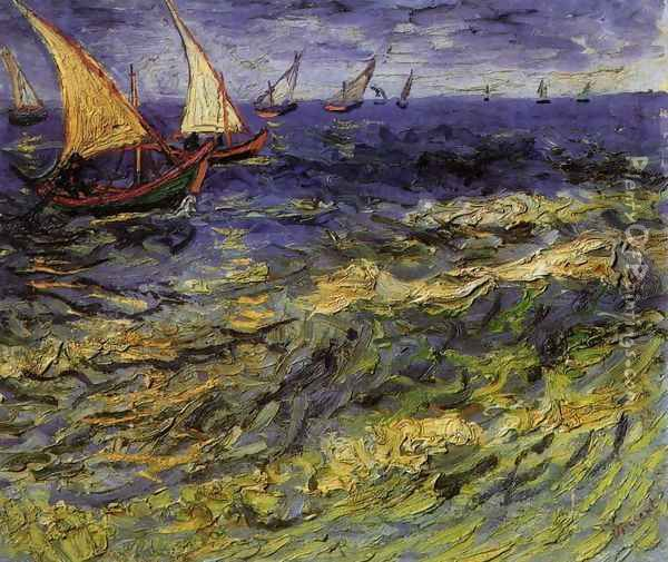 Seascape at Saintes-Maries 2 Oil Painting - Vincent Van Gogh