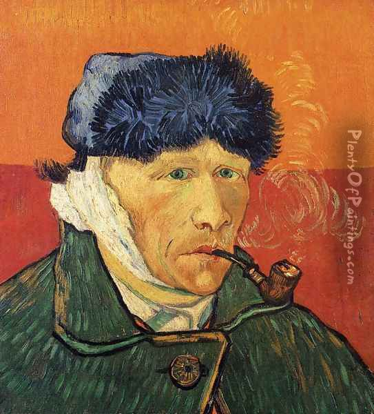 Self Portrait With Bandaged Ear And Pipe Oil Painting - Vincent Van Gogh
