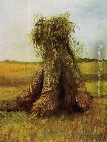Sheaves Of Wheat In A Field Oil Painting - Vincent Van Gogh