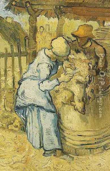 Sheep Shearers The (after Millet) Oil Painting - Vincent Van Gogh