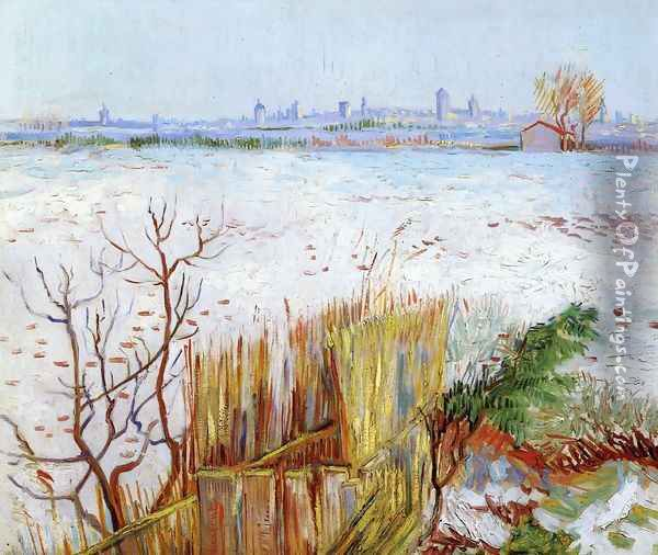 Snowy Landscape With Arles In The Background Oil Painting - Vincent Van Gogh