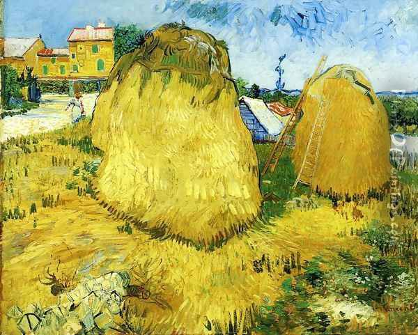 Stacks of Wheat near a Farmhouse Oil Painting - Vincent Van Gogh