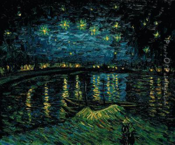 Starry Night Over The Rhone Oil Painting - Vincent Van Gogh