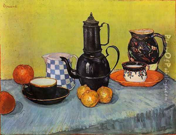 Still Life: Blue Enamel Coffeepot, Earthenware and Fruit Oil Painting - Vincent Van Gogh